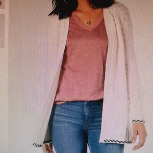 Back Braid Open Front Cardigan